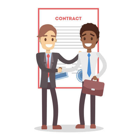 Signing up contract. Businessmen shaking hands at office. Vector illustration.
