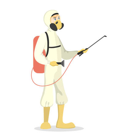 Pest control service. exterminator in uniform with equipment. Vector illustration. Vettoriali