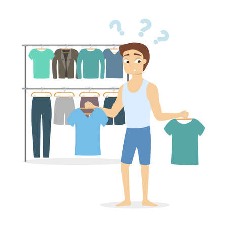 Man confused on what to wear illustration. Vectores