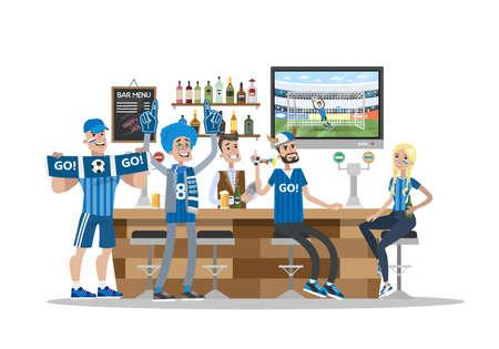 Football fans in bar.