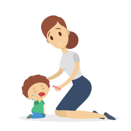 Mother calming sad boy vector illustration.