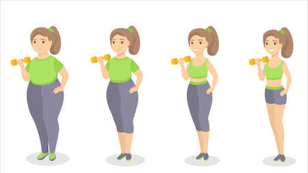 From fat to fit concept vector illustration.