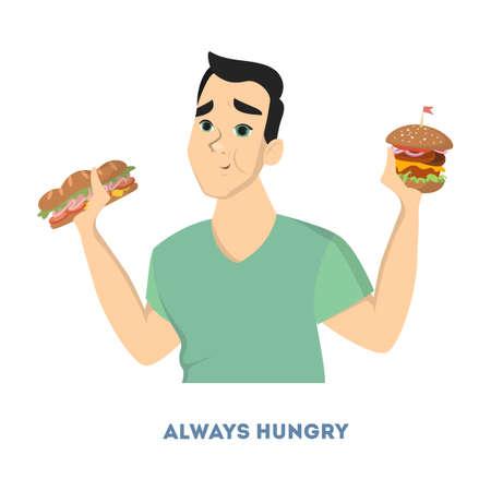 Man diabetes symptoms.. Illustration