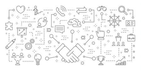 Teamwork icons set. Illustration