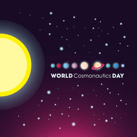 World cosmonautics day poster template vector illustration.  イラスト・ベクター素材