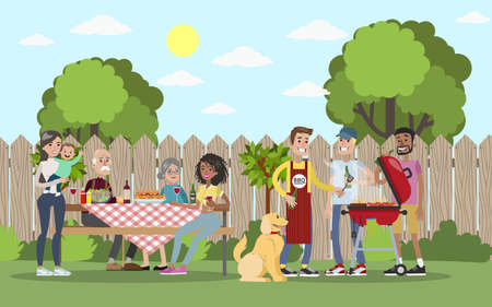 Family on BBQ vector illustration.