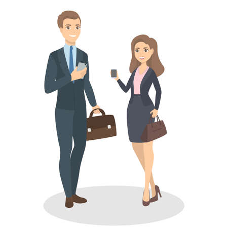 Isolated business couple vector illustration