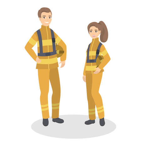 Isolated firefighter couple. Man and woman standing in uniform. Vectores