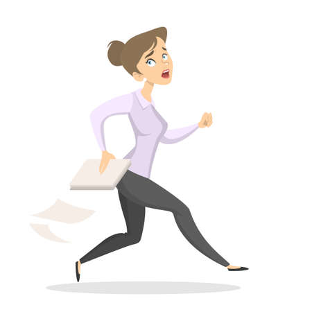 Isolated scared employee running with documents on white.
