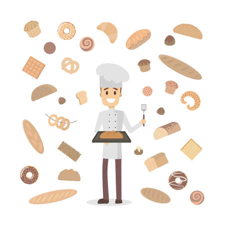 Isolated baker with different types of bread vector illustration