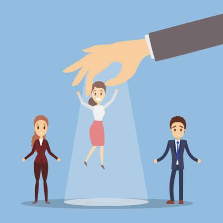 Boss choose employee. Picking up the chosen businesswoman. Illustration