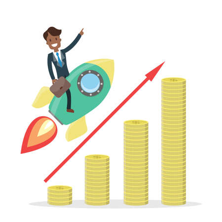 Businessman riding a rocket, financial growth concept vector illustration