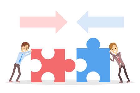 Businessmen with puzzles, teamwork concept vector illustration Stock Illustratie