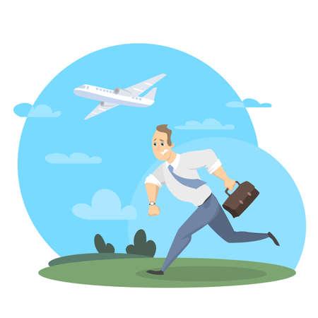 Businessman missed the plane concept vector illustration