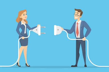 Business connection concept. Two businessmen plugging socket.