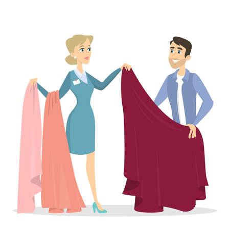 Man tailoring illustrations. Man choosing the cloth.