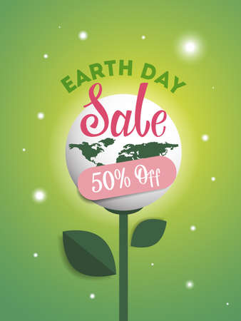 Earth day sale 50% sale with plant and leaves.