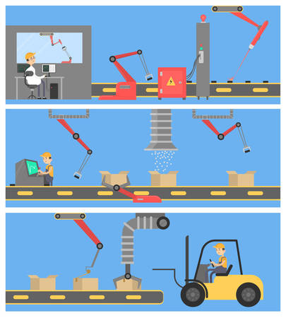 Factory work illustration with workers, forklift and machines.