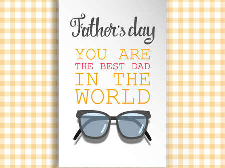 Happy Fathers day for greeting cards on colored illustration. Illustration