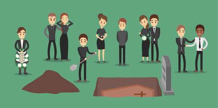 People at funeral set. Illustration