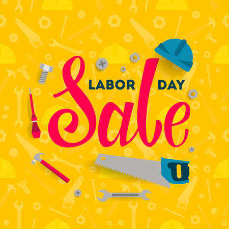 Labor Day sale illustrations set with construction equipment. Vector illustration. Stock Illustratie
