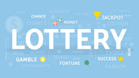 Lottery concept on blue background illustration.