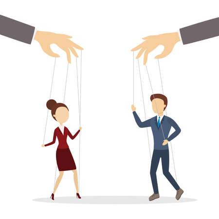 Flat art of manipulation of employees on white backdrop illustration.