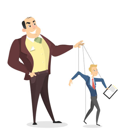 Manipulation of employees. Boss holding puppet strings with man. Vector illustration. Vettoriali