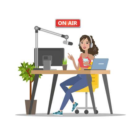 Flat art of lady radio dj on air on white backdrop illustration.