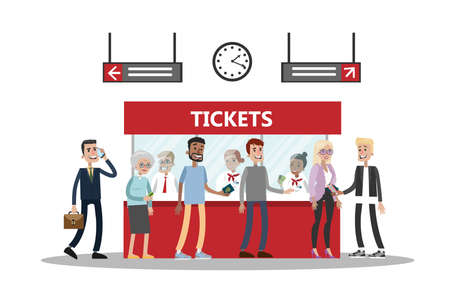 Flat art of a passenger buying tickets on colored illustration.