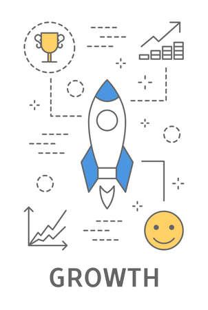 Ilustración del concepto de inicio, con diseño de lanzamiento de cohete para el concepto de crecimiento.