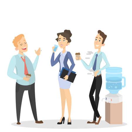 Office smoke break in cartoon Illustration. Illustration