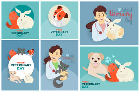 Veterinary day set of greeting cards with doctor and animals vector veterinary day set of greeting cards with doctor and animals m4hsunfo