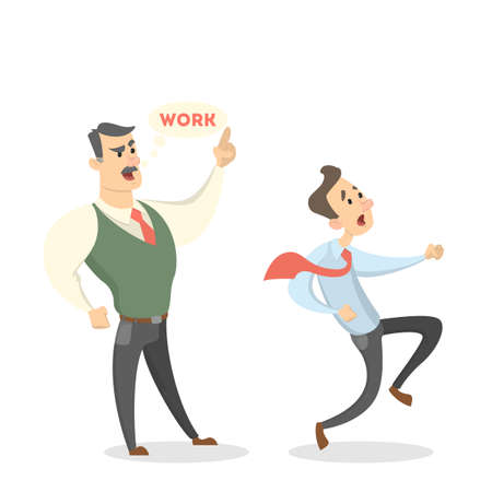Angry boss shouting work to employee Vector illustration. Illustration