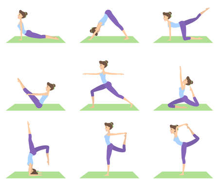 Woman doing yoga set of positions on white background.