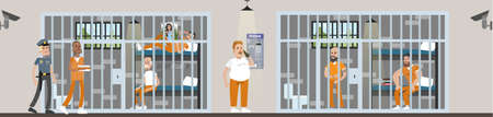 Male prison interior with prisoners and police officers.