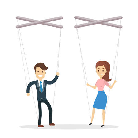 Manipulation of employees concept with man and woman in puppet strings. Vector illustration.