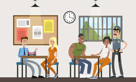 Female prison interior room. Prisoners with police officers on white. Illustration