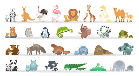 Animals families set. Cartoon animals with babies.
