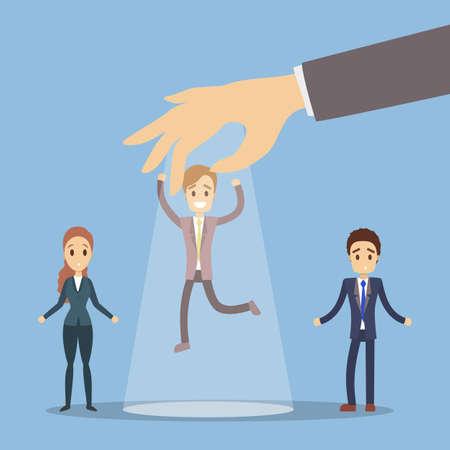 Boss choose employee. Picking up the chosen businessman.