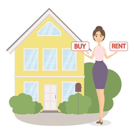 Buy or rent. Woman solving real estate problem.