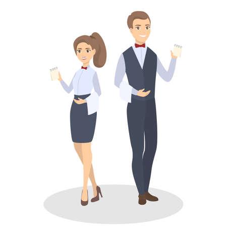 Isolated waiters couple.