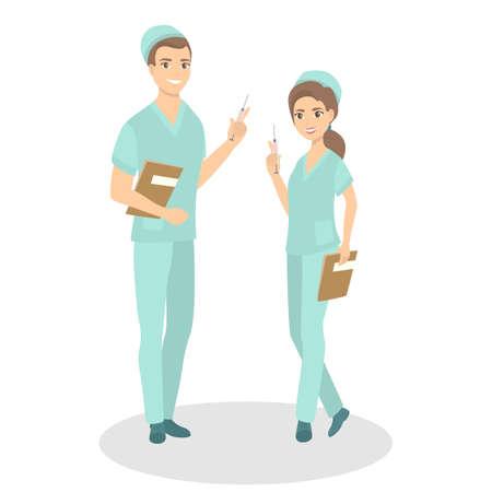 Isolated nurses couple. Stock Illustratie