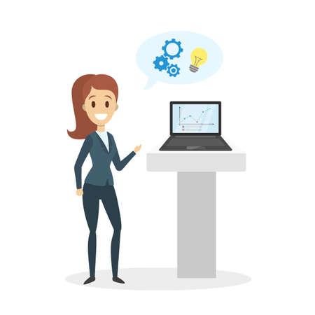 Businesswoman showing presentation on laptop on white.