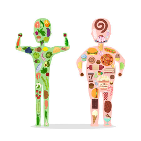 Good and bad food. Man silhouette with healthy and junk food. Stock Illustratie