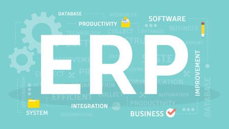 ERP concept illustration. Idea of productivity and improvement. Illustration