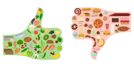 Good and bad food. Thumbs silhouette with healthy and junk food. Çizim