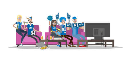 Football fans of blue. Team sitting on the couch and watch tv.