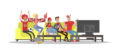 Football fans watch tv in home. on white background Illustration