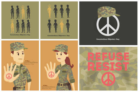 Conscientious objectors day greeting cards set. People against war. Illustration